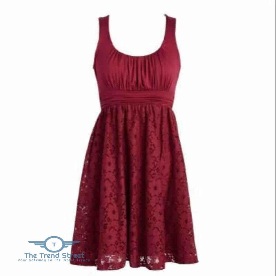 Womens Plus Size Wedding Party Cotton Lace Short Dress Burgundy / S Dress