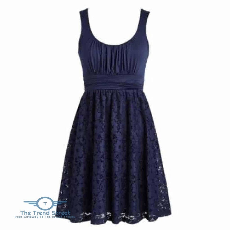 Womens Plus Size Wedding Party Cotton Lace Short Dress Navy Blue / S Dress