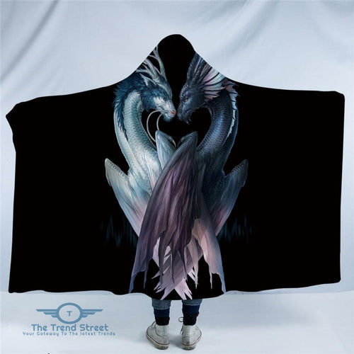 Yin and Yang Dragons Black by JoJoesArt Hooded Blanket Adults 150(H)x200(W)