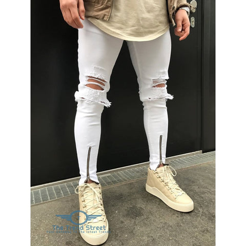 Zipper Fly Ripped Slim Fit Jeans