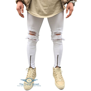 Zipper Fly Ripped Slim Fit Jeans WHITE / 34