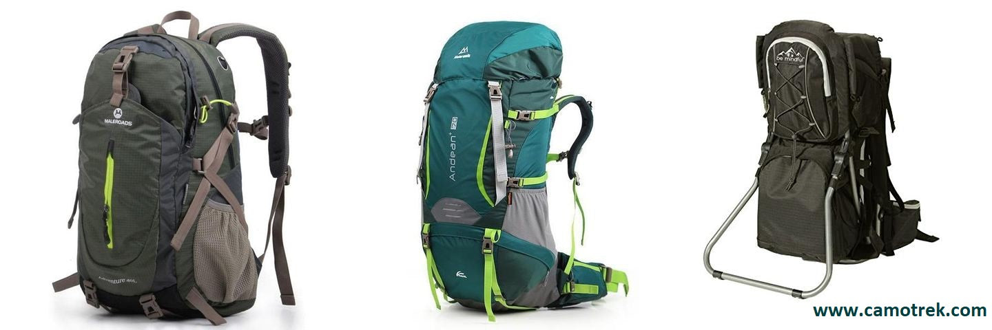 Three different hiking backpacks - day pack, internal frame pack, and external frame pack