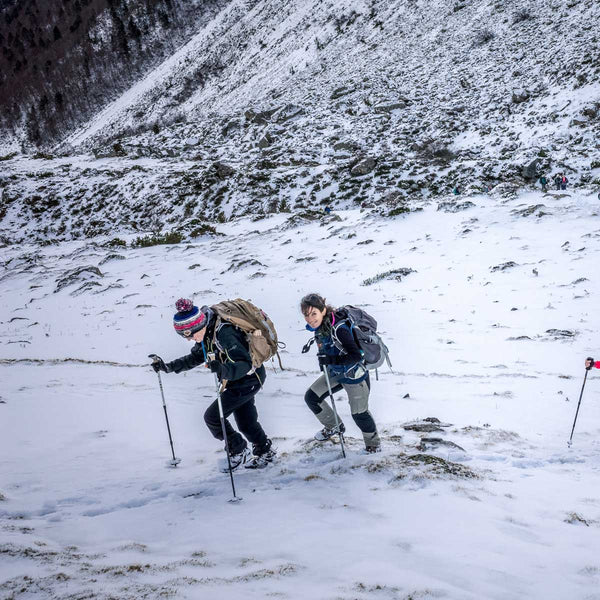 A group of hikers walking up snowy terrain