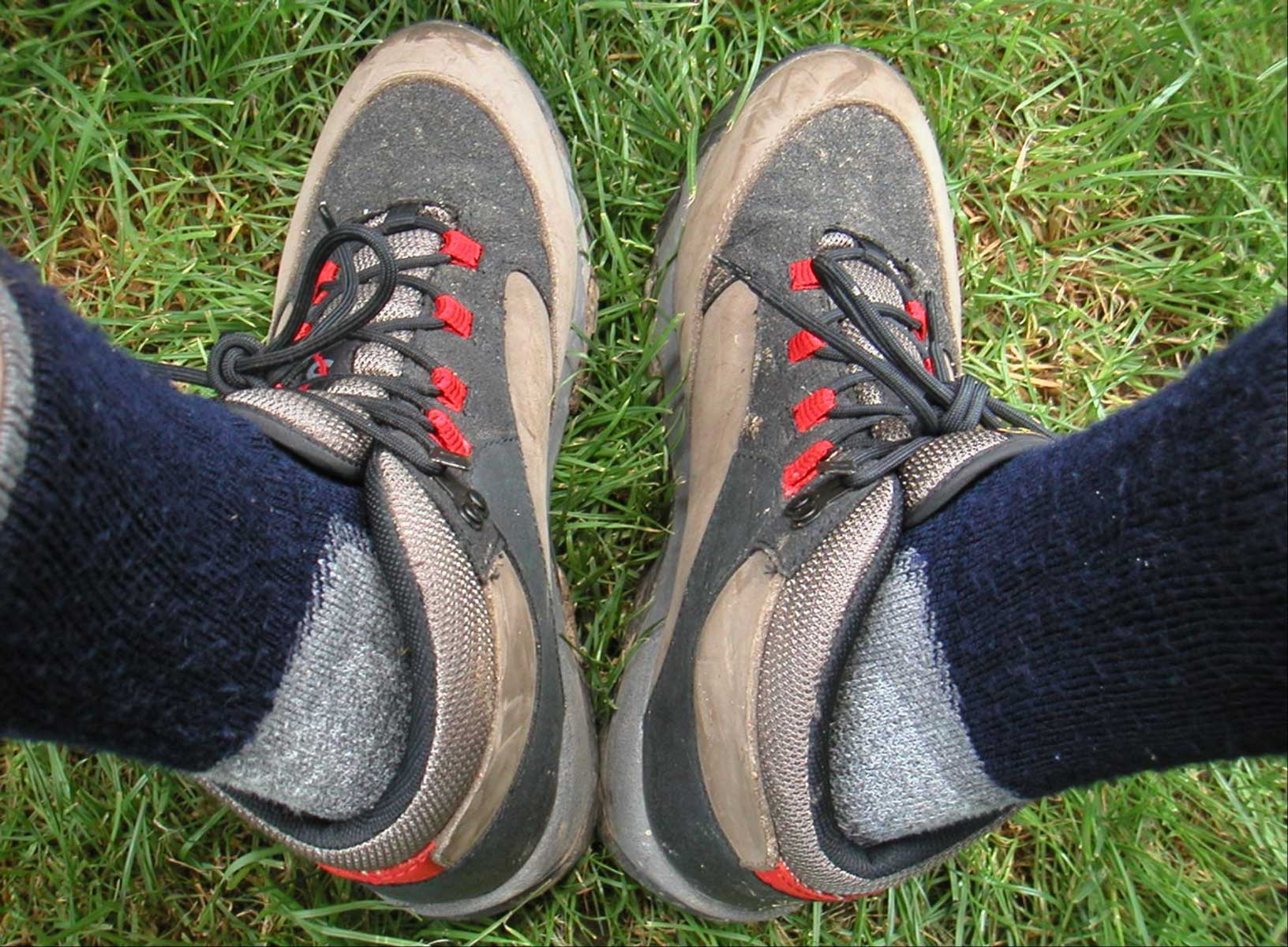 Hiking socks in shoes