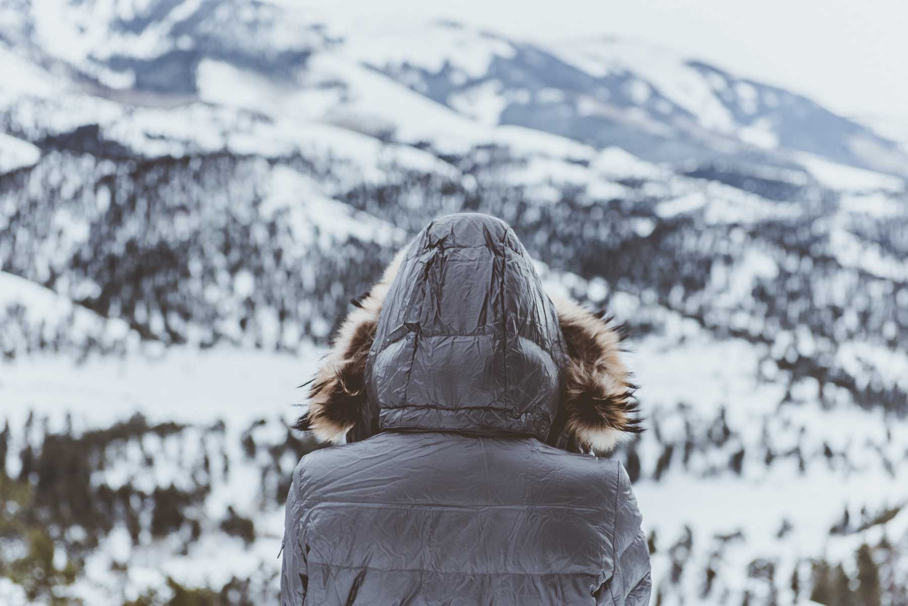 Hooded person near snow landscape