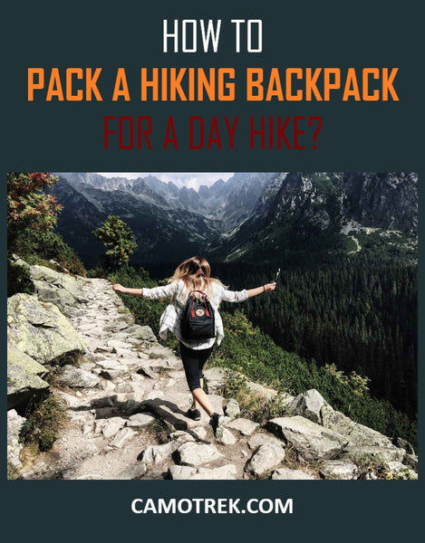 Packing hiking backpack for a day hike PIN