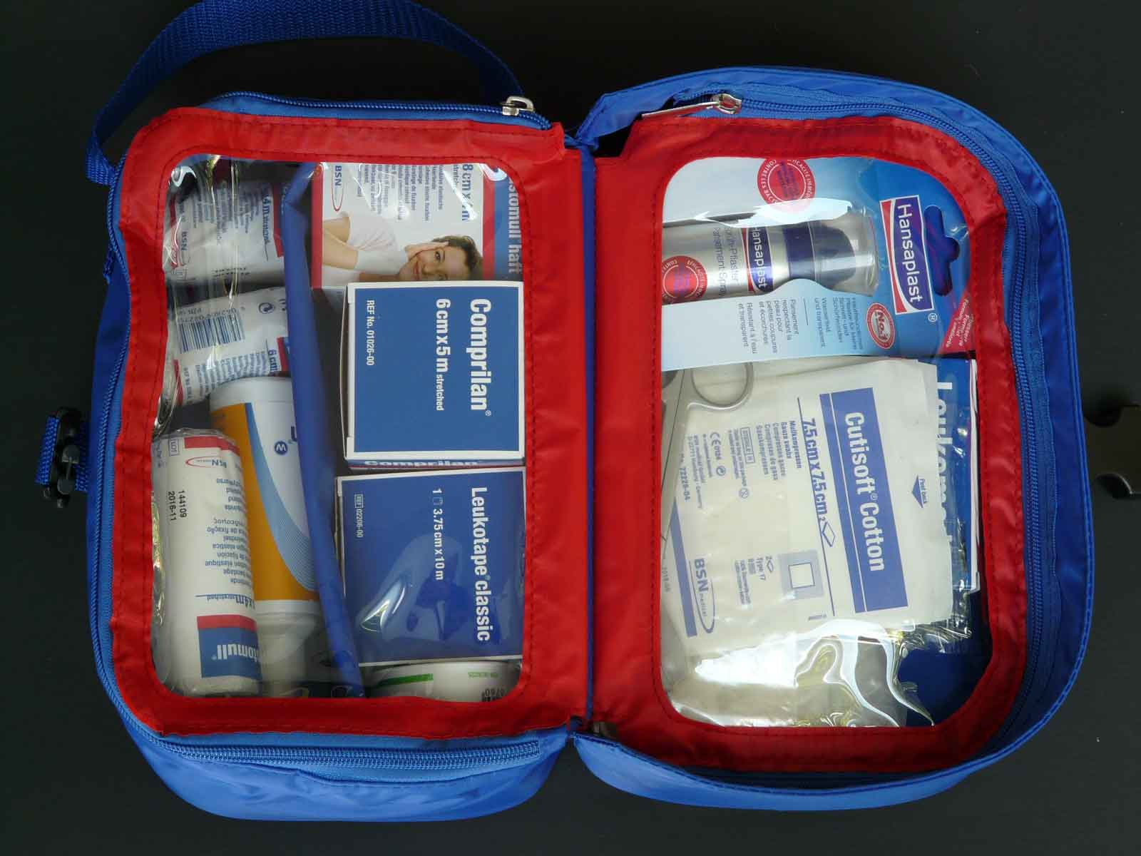 Hiking in the rain: first aid kit