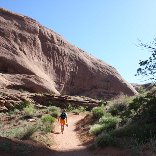 Barefoot hiker in Moab