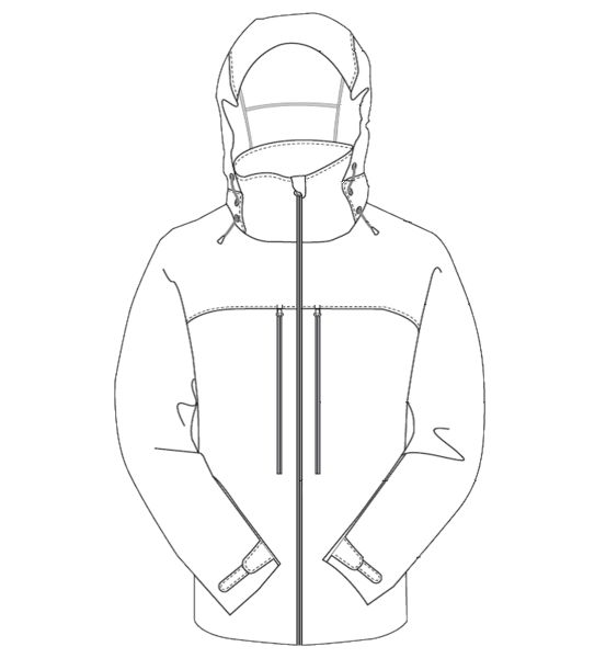 Typical rain jacket design