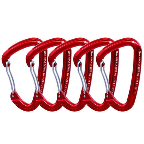 GM 24kN D Wire-Gate Carabiner 5 pcs - Camotrek