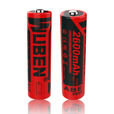 Wuben 18650 Li-Ion Rechargeable Battery 2600mAh 2pcs - Camotrek