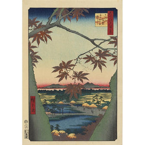 Maple Trees at Mama, Tekona Shrine and Linked Bridge, from One Hundred Famous Views of Edo, 1857