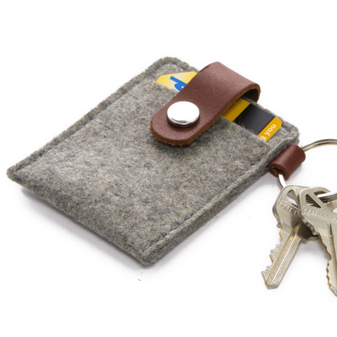 Key Card Case Felt in Granite