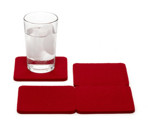Felt Coasters Set in Red