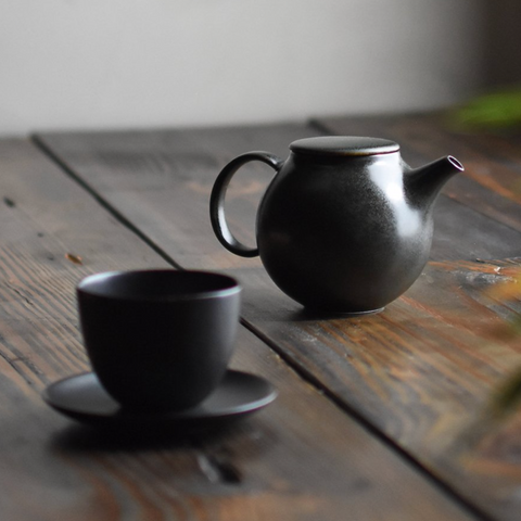 Black Pebble Porcelain Teapot