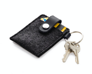 Key Card Case Felt in Charcoal/Black