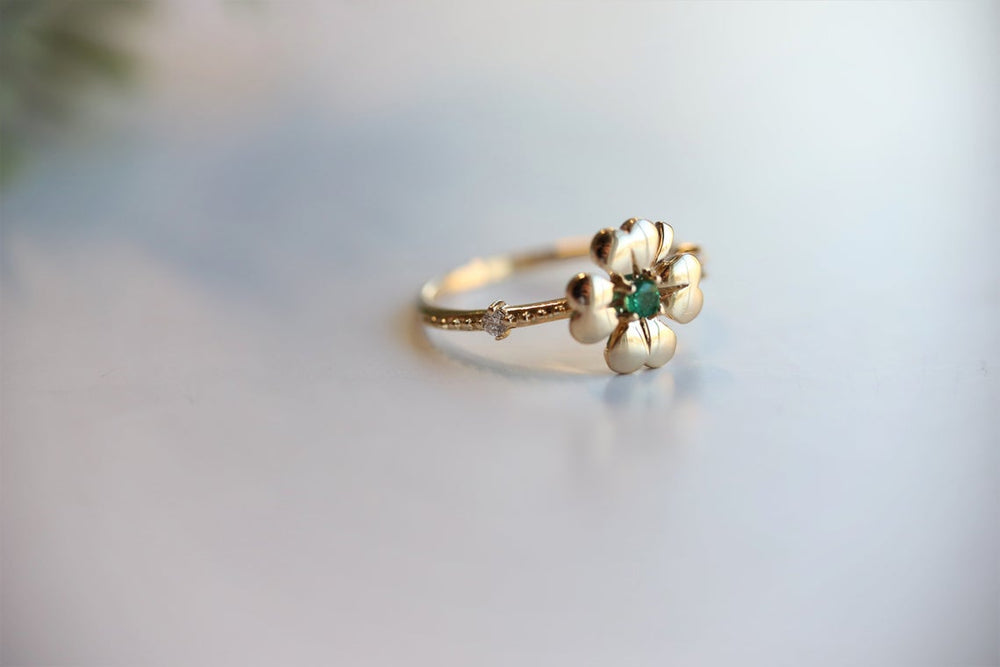 14K Four Leaf Clover Emerald and Diamond Stacking Ring