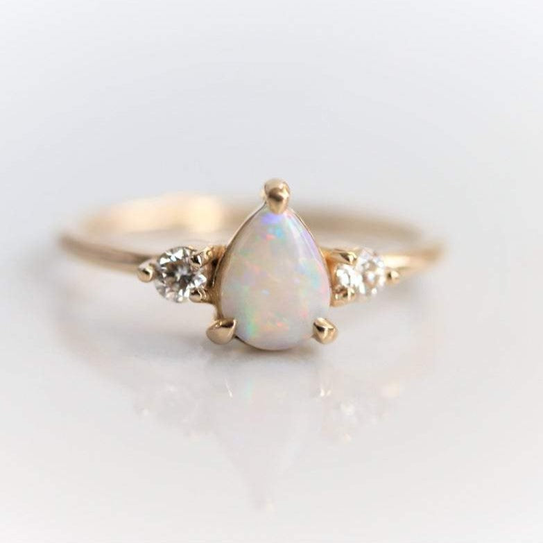 EVA | 14K 3-Stone Pear Australian Opal and Diamond Ring