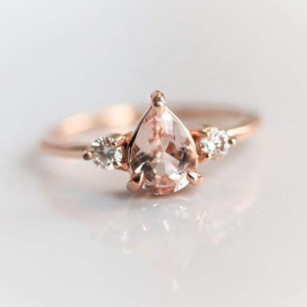 EVA | 3-Stone Pear Morganite and Diamond Ring