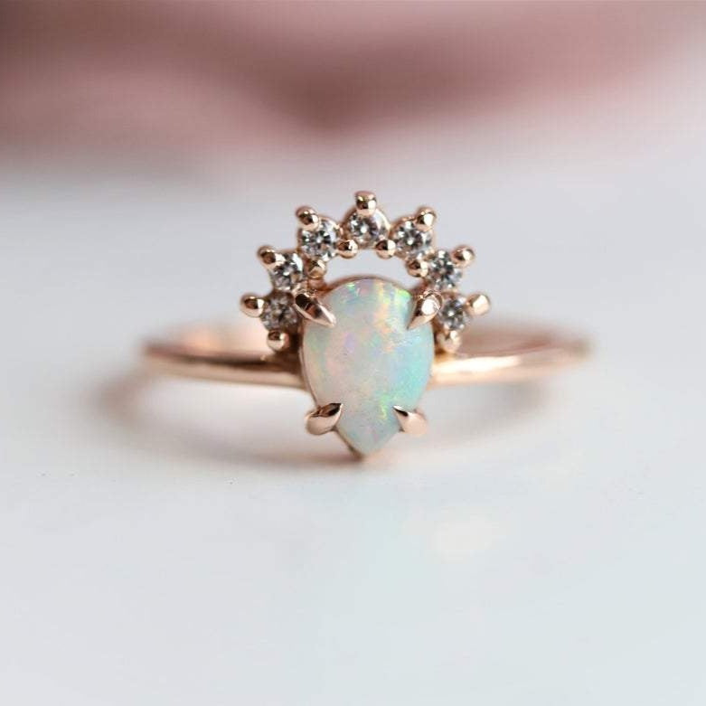 Lily | Pear Australian Opal & Diamond Crown Engagement Promise Ring