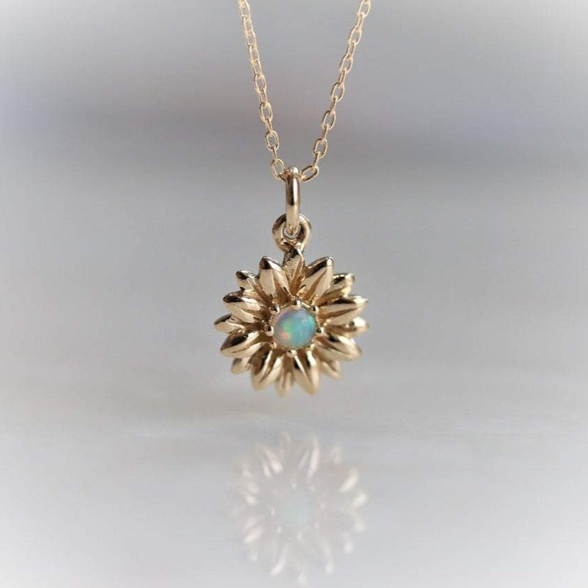 14K Sunflower Australian Opal Necklace