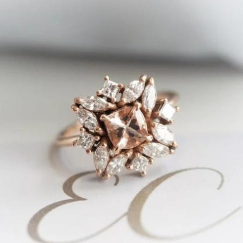 Jasmine No.1 | 14K Morganite & CZ Flower Inspired Cluster Ring