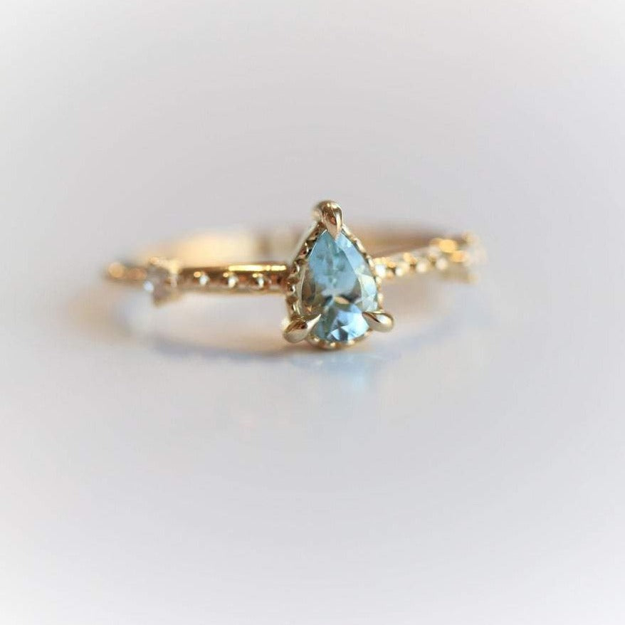 Chelsea - 14K Pear Aquamarine & Diamond Accent Ring