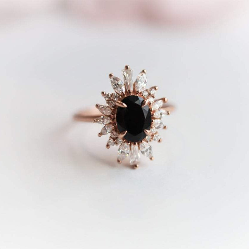 Laina | 14K Oval Black Onyx & CZ Fancy Halo Ring
