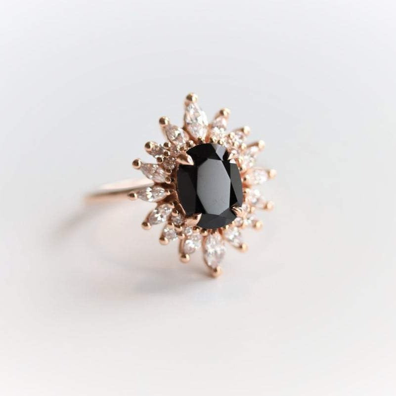 Lana | 14K Oval Black Onyx & CZ Fancy Halo Ring