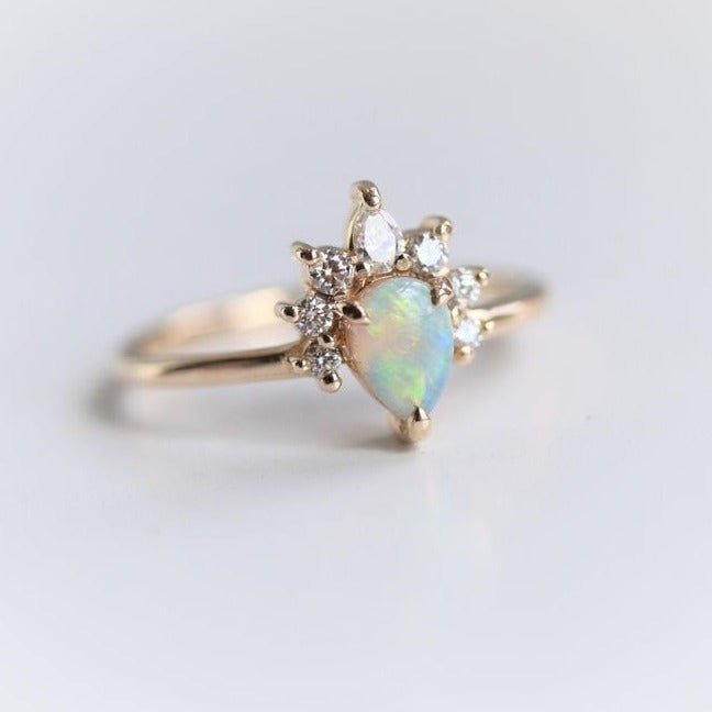 Ophelia | 14K Pear Australian Opal & Diamond Crown Promise Ring