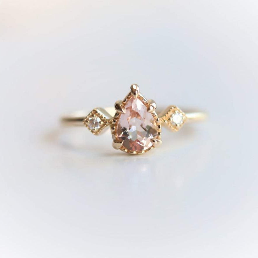 Carrie | Pear Morganite & Diamond Milgrain Side Stone Ring