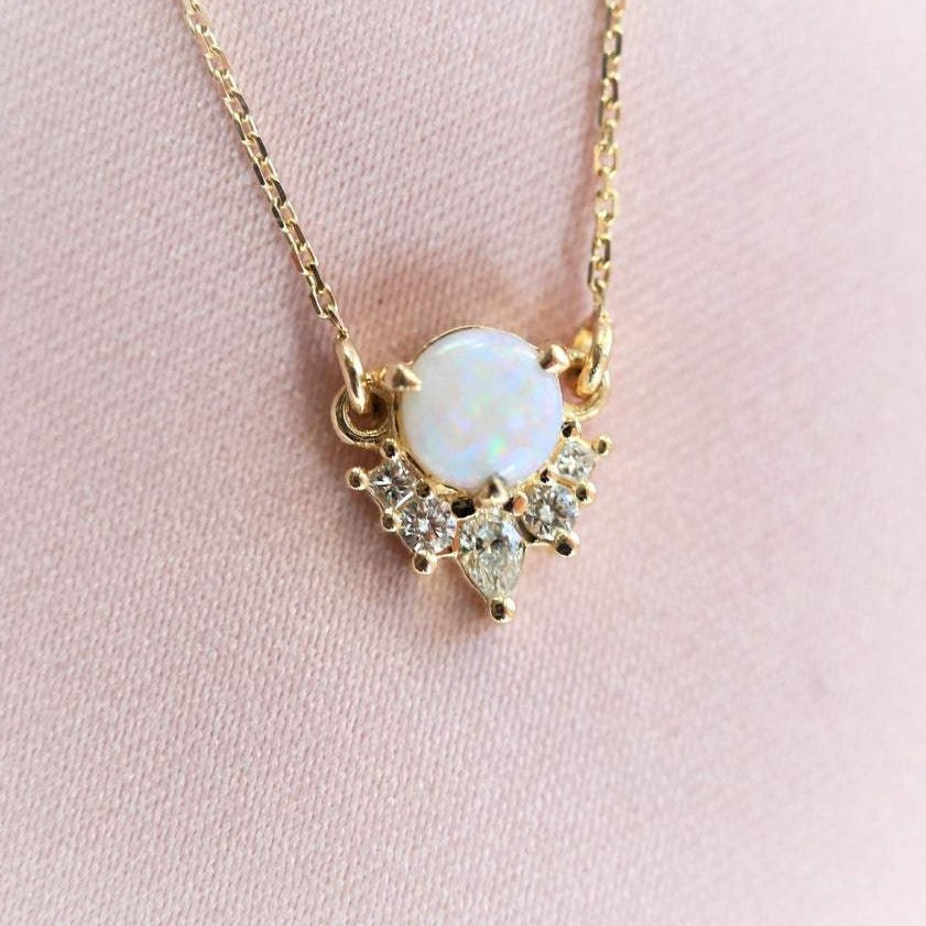 Olivia | 14K Australian Opal & Diamond Crown Pendant Necklace
