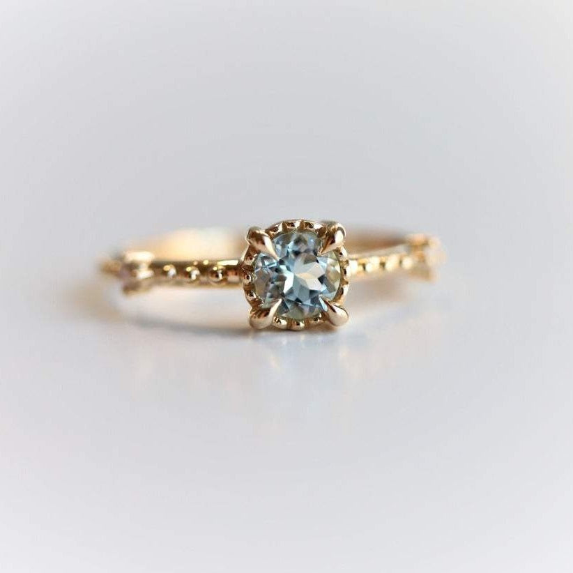 Chelsea - 14K Round Aquamarine & Diamond Accent Ring