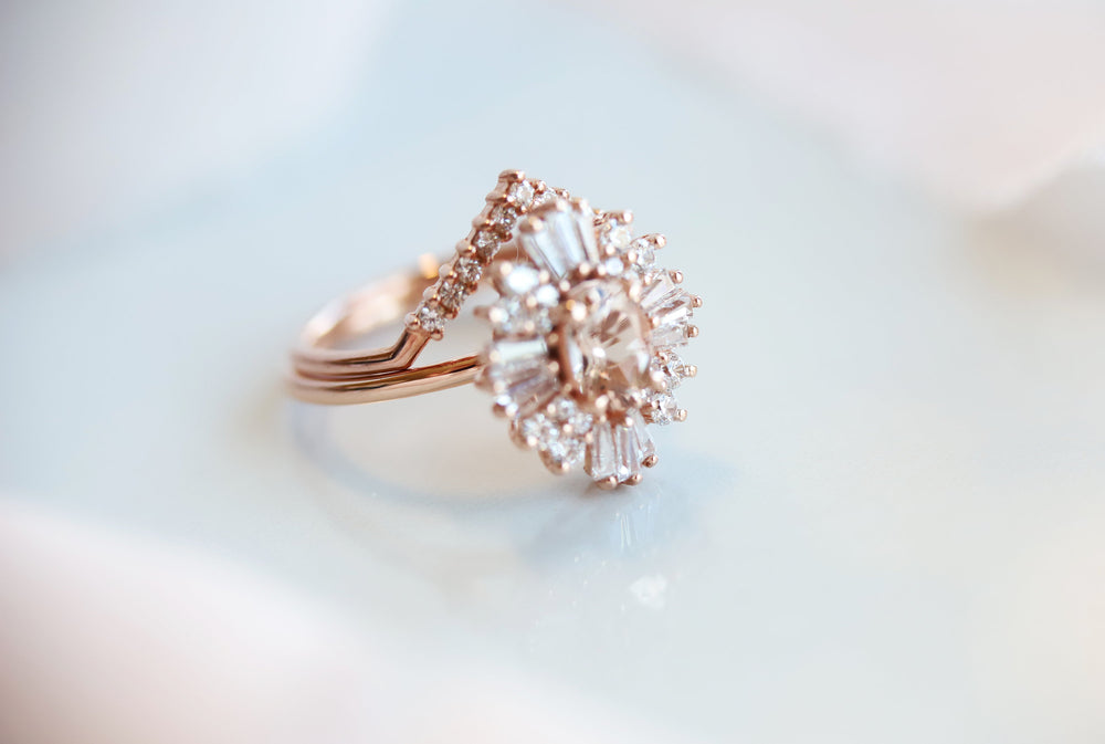 Victoria | 14K Morganite & Lab Grown Diamond Fancy Halo Luxury Ring