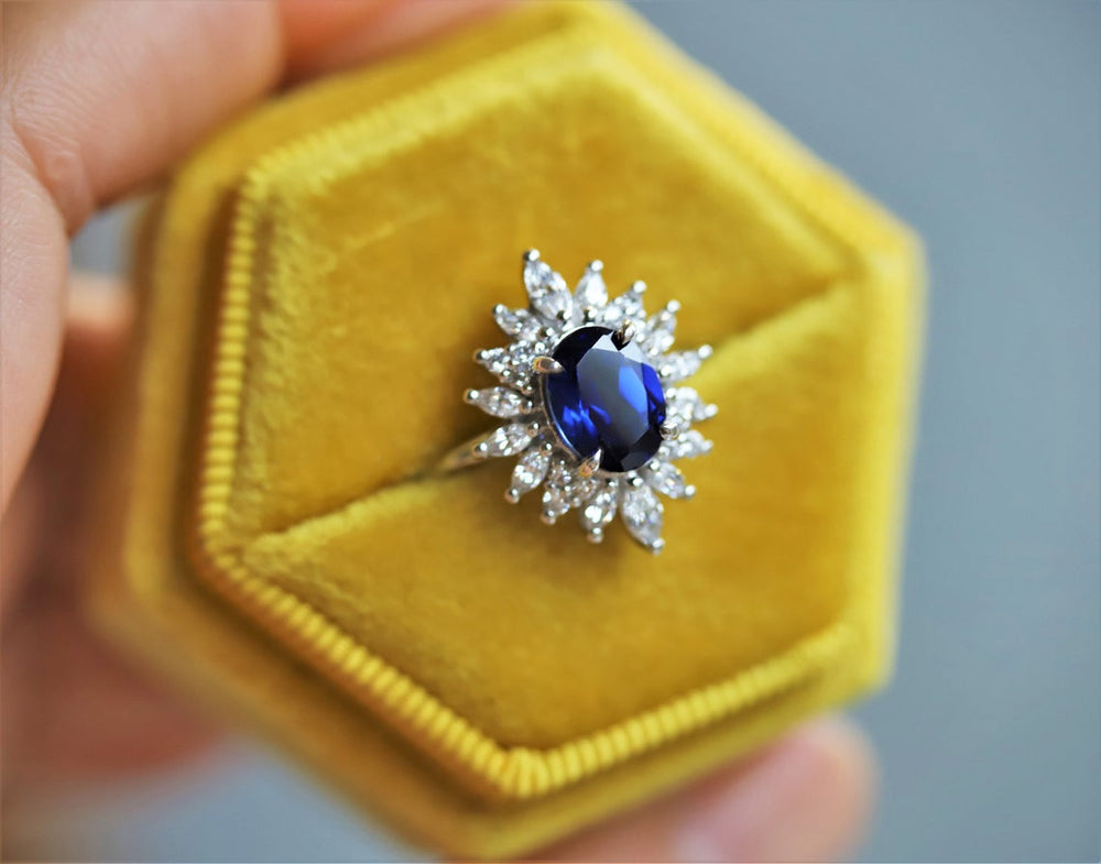 Lana | 14K Lab Created Blue Sapphire and Diamond Fancy Halo Ring