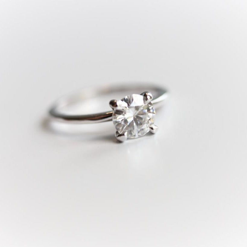 ALVA | 0.7 ct. Round 4-Prong Colorless Moissanite Solitaire in Smooth Shiny Finish