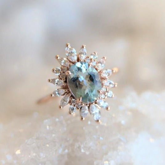 Lana | 14K Aquamarine & Diamond Fancy Halo Luxury Ring