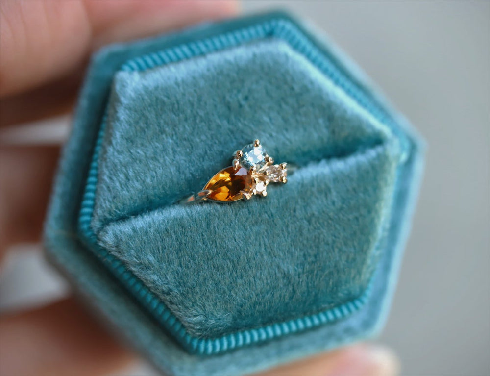 Bella | 14K Citrine, Swiss Blue Topaz and Diamond Mini Cluster ring