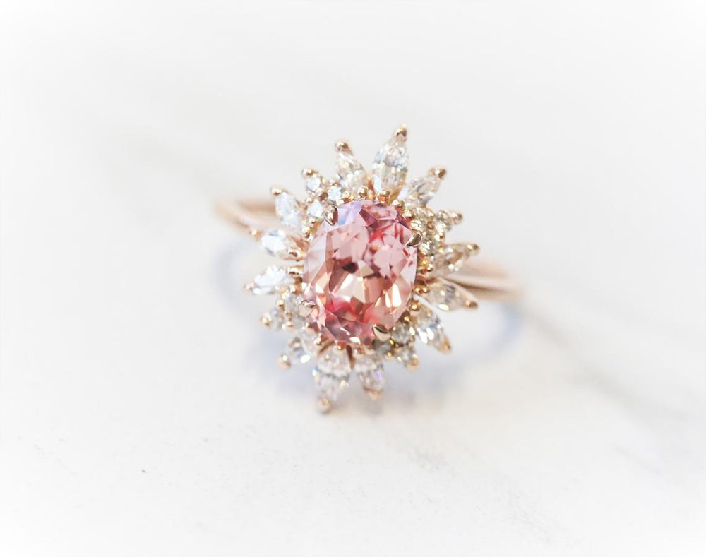 Lana | 14K Chatham Lab Created Champagne Sapphire & Diamond Fancy Halo Ring