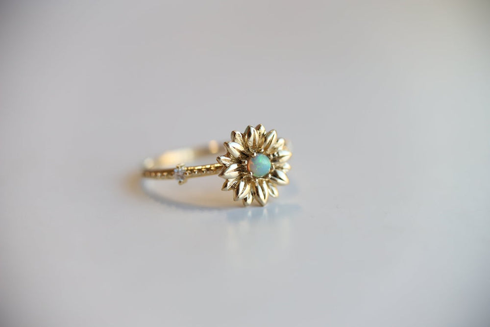 Sunflower Opal Ring | 14K Sunflower Australian Opal Stacking Ring