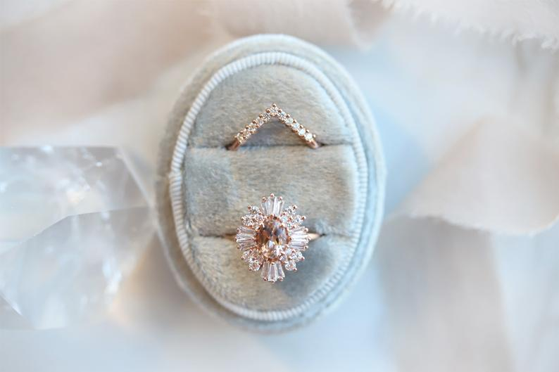 Victoria | 14K Morganite & CZ Fancy Halo Ring