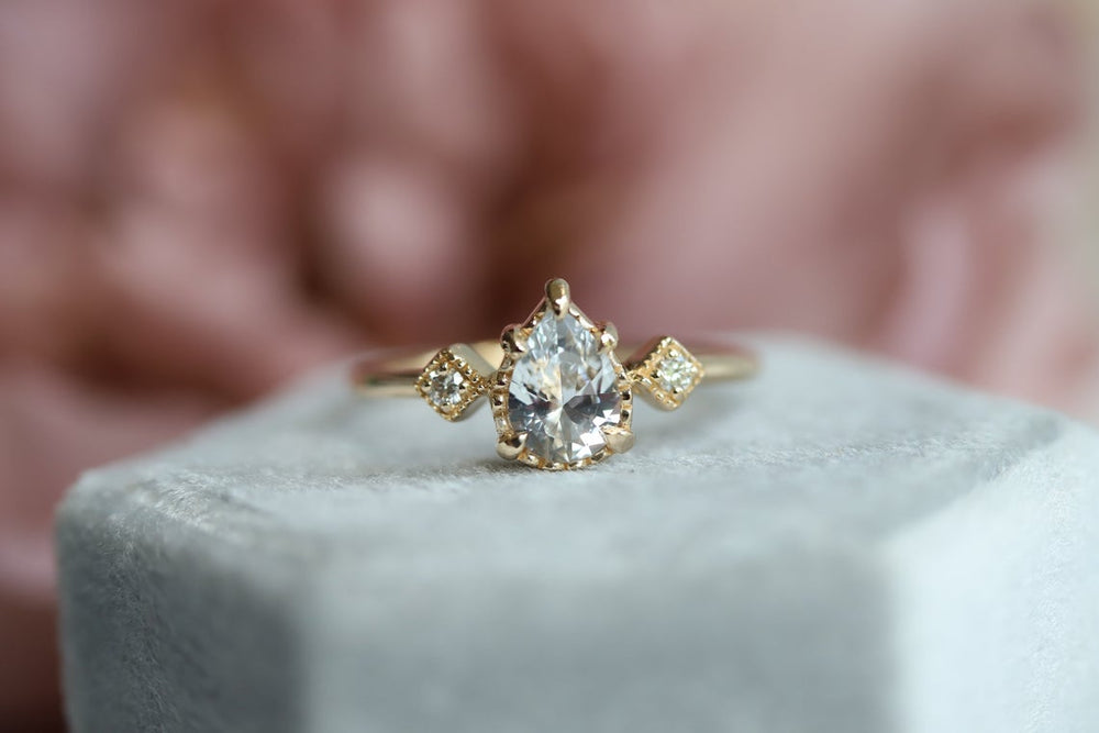 Carrie | Pear White Sapphire & Diamond Milgrain Ring