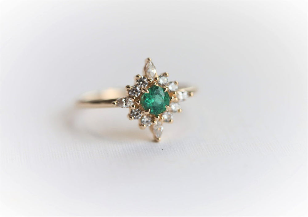 Skylar | 14K Natural Emerald & Diamond Snowflake Fancy Halo Ring