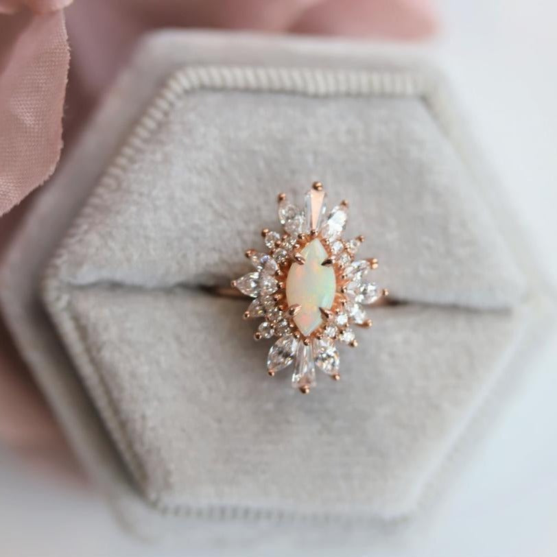 Lena | 14K Marquise Australian opal & Diamond Fancy Halo Luxury Ring