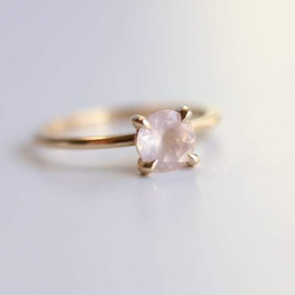 ALVA l 0.7 ct Round Rose Quartz Dainty Solitaire Ring In Smooth and Shiny Finish