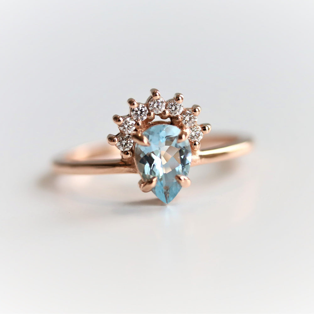 Lily | 14K Pear Aquamarine & Diamond Crown Promise Ring