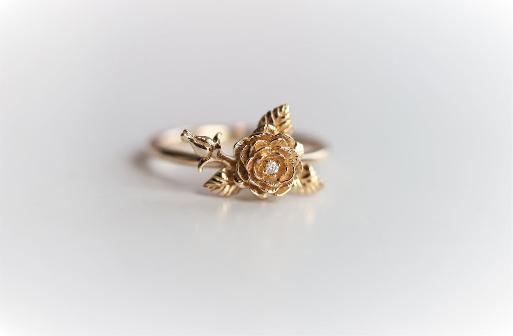ROSE Ring | 14K Rose With A Rose Bud Ring