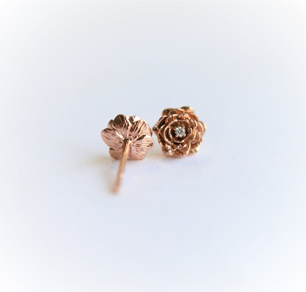 ROSE | 9K and 14K Rose Stud Earrings