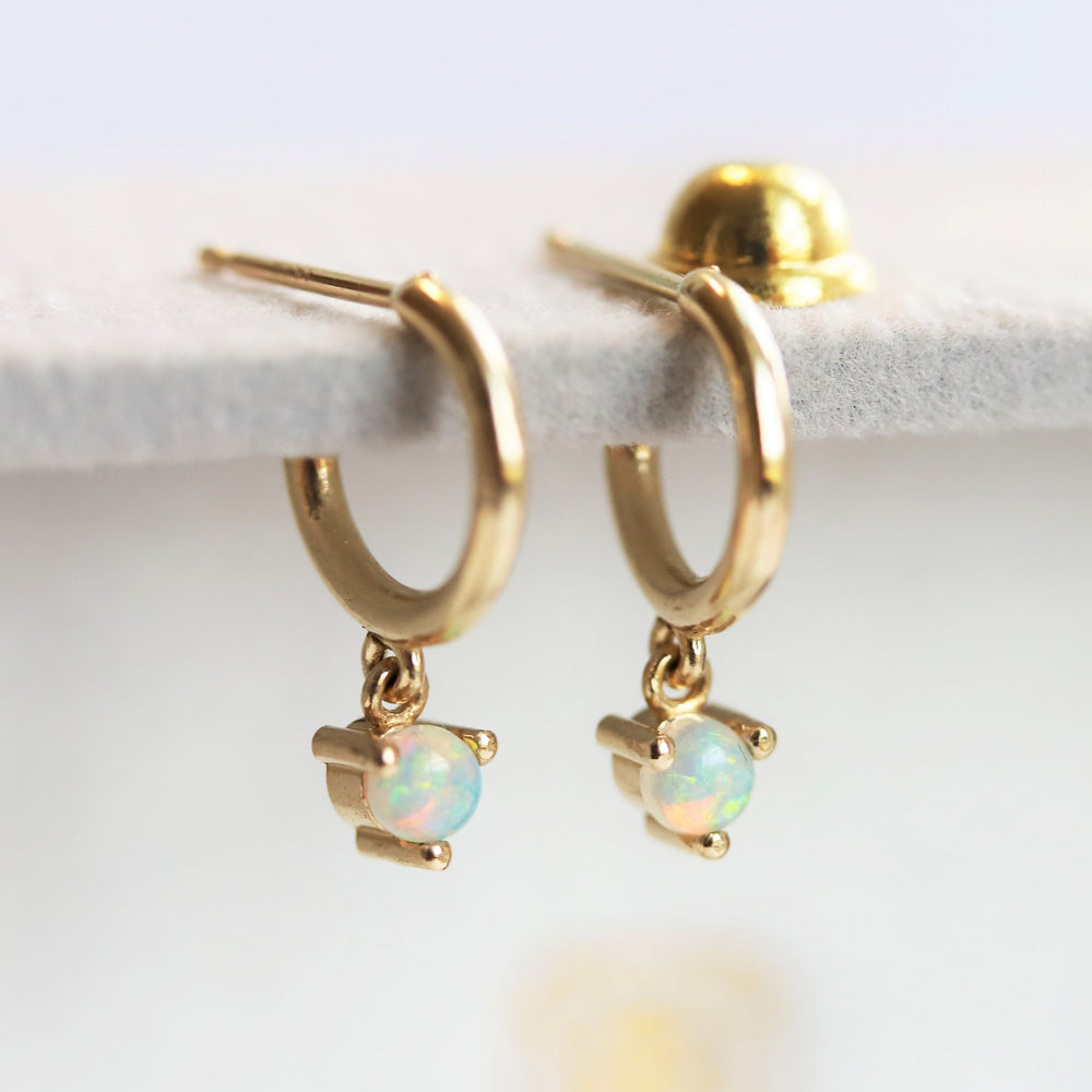 14K Australian Opal Dangle Huggie Earrings
