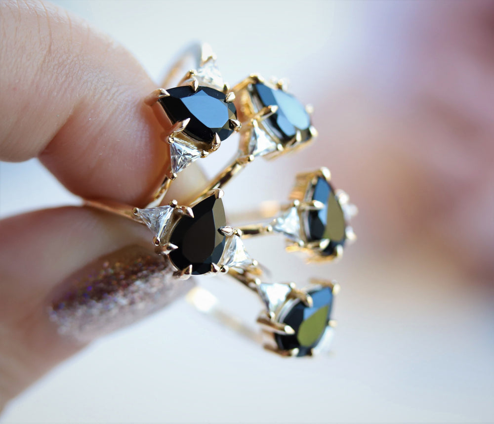 Alexis | Pear Black Onyx & Triangle Moissanite Ring